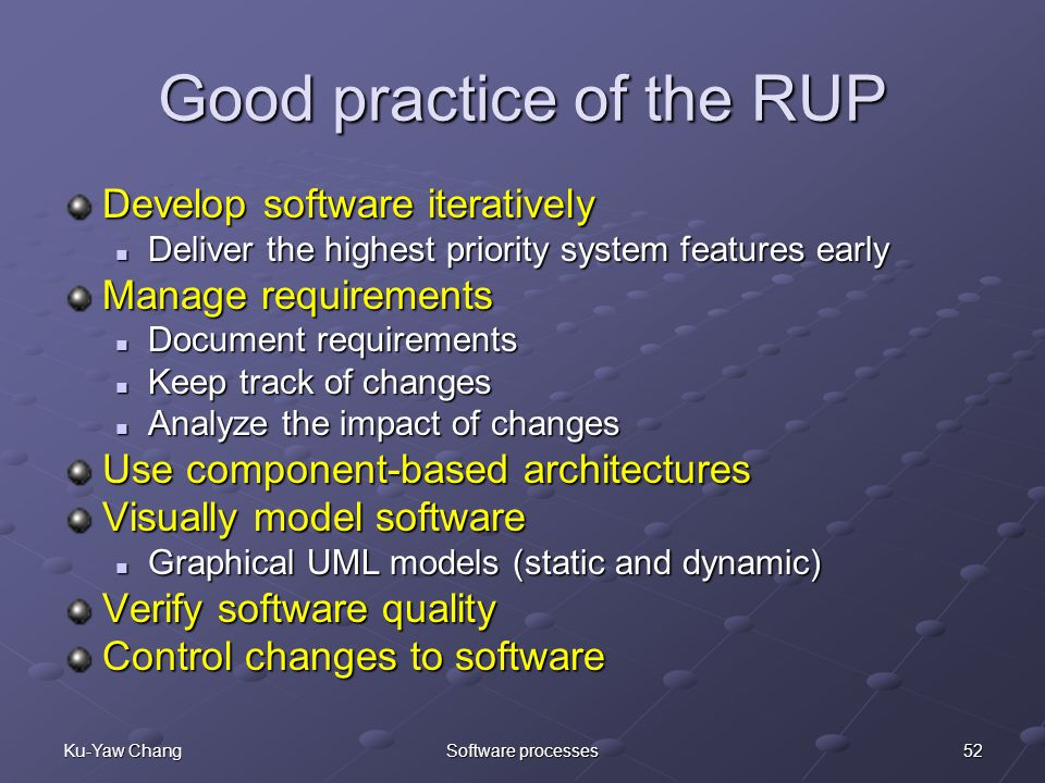 52Ku-Yaw ChangSoftware processes Good practice of the RUP Develop software iteratively Deliver the highest priority system features early Deliver the highest priority system features early Manage requirements Document requirements Document requirements Keep track of changes Keep track of changes Analyze the impact of changes Analyze the impact of changes Use component-based architectures Visually model software Graphical UML models (static and dynamic) Graphical UML models (static and dynamic) Verify software quality Control changes to software
