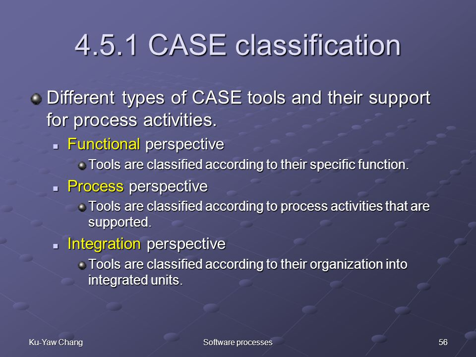 56Ku-Yaw ChangSoftware processes 4.5.1 CASE classification Different types of CASE tools and their support for process activities.