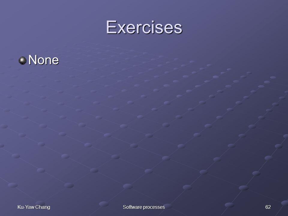 62Ku-Yaw ChangSoftware processes Exercises None
