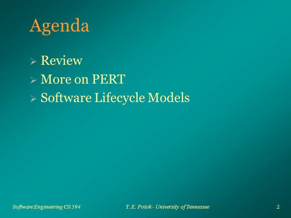 33 Software Engineering CS 594T. E. Potok - University of Tennessee Iterative Approach 1 2