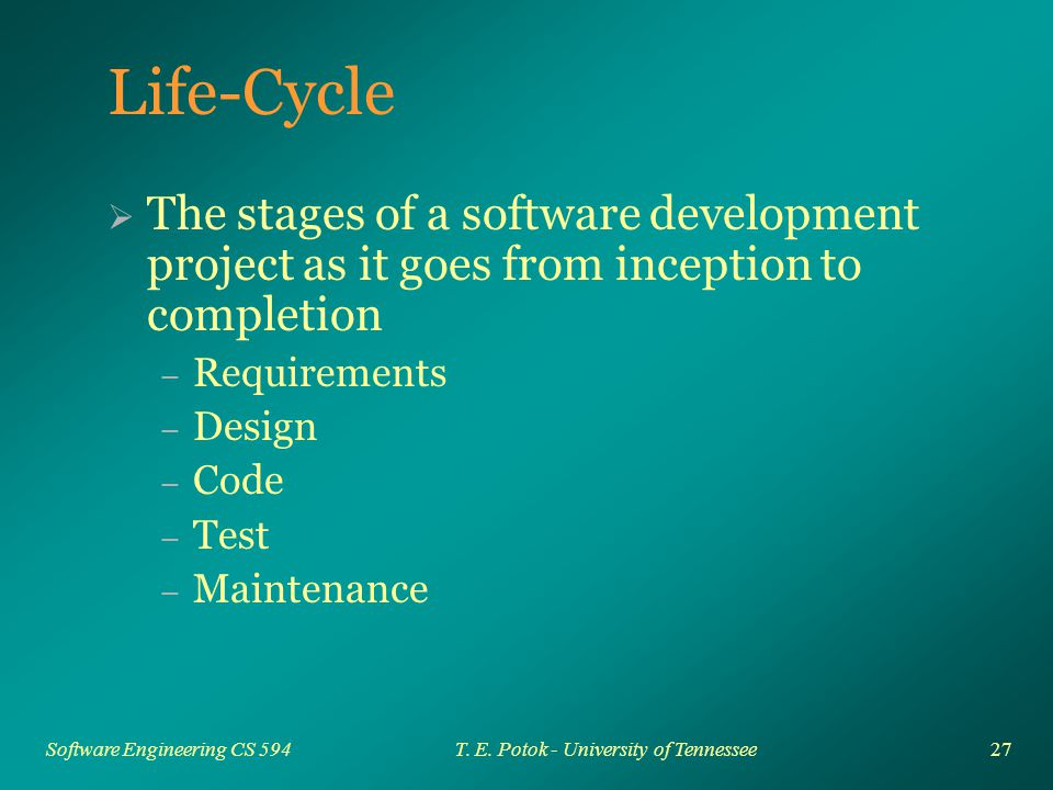 27 Software Engineering CS 594T. E.