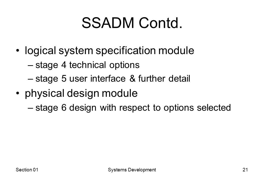 Section 01Systems Development21 SSADM Contd.