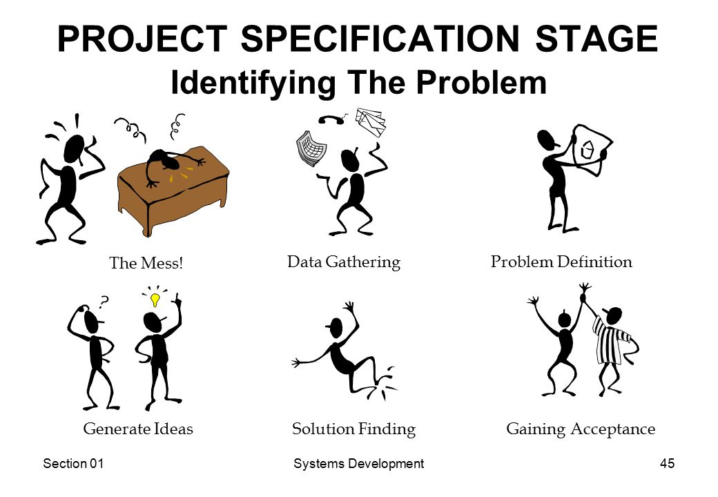 Section 01Systems Development45 PROJECT SPECIFICATION STAGE The Mess.