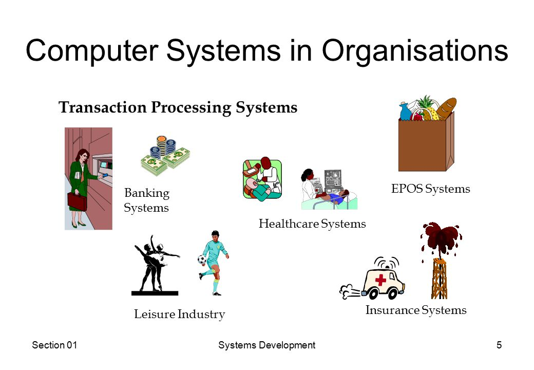 Section 01Systems Development5 Computer Systems in Organisations Transaction Processing Systems Banking Systems EPOS Systems Healthcare Systems Insurance Systems Leisure Industry