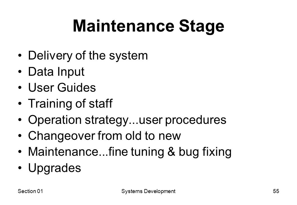 Section 01Systems Development55 Maintenance Stage Delivery of the system Data Input User Guides Training of staff Operation strategy...user procedures Changeover from old to new Maintenance...fine tuning & bug fixing Upgrades