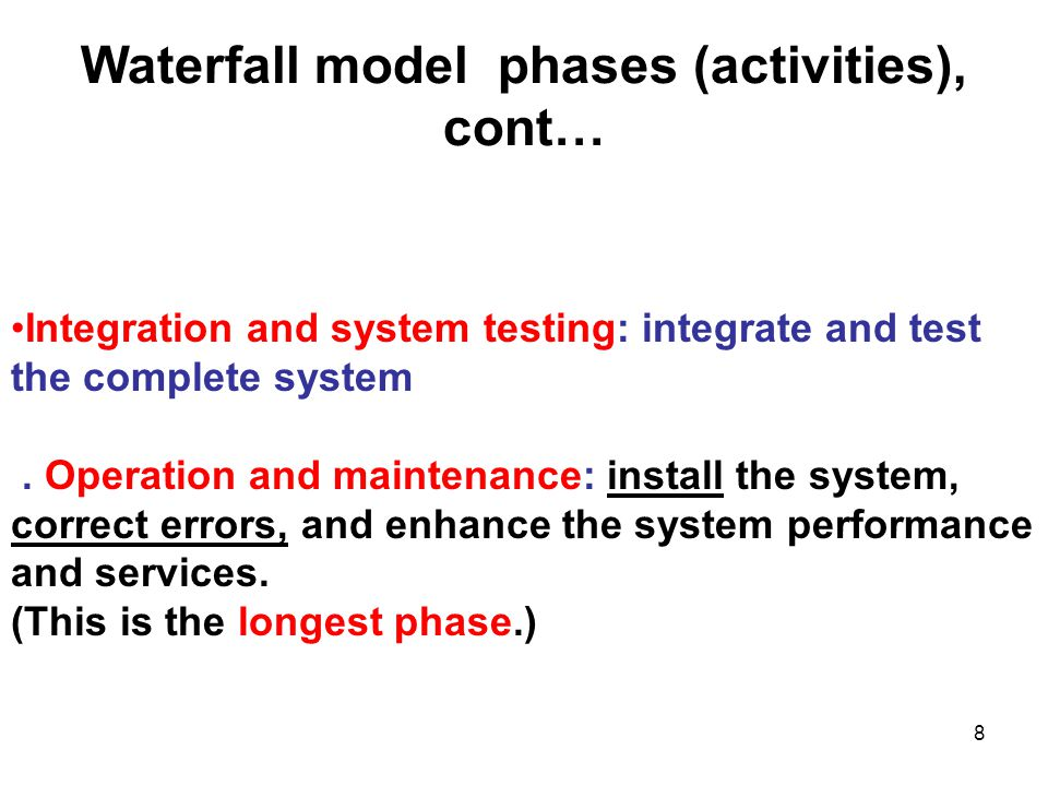 19 This approach differs from the waterfall model: - The software requirements specification is refined into a detailed formal specification using math notation.