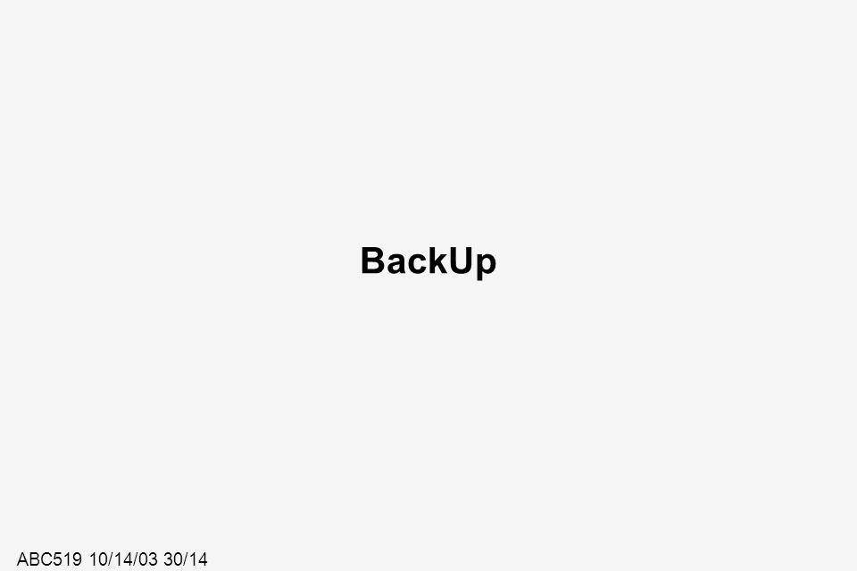 ABC519 10/14/03 30/14 BackUp