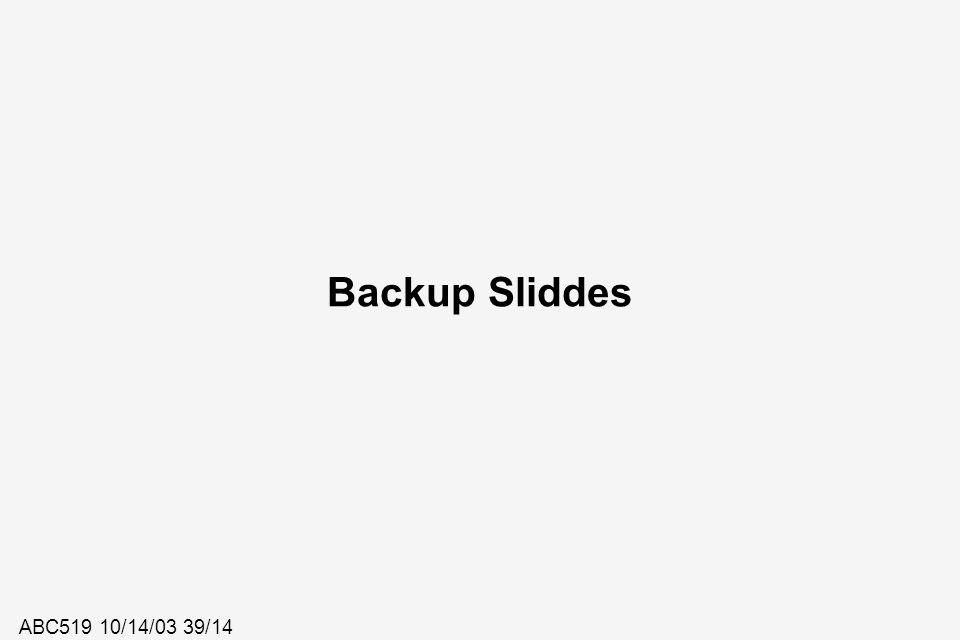 ABC519 10/14/03 39/14 Backup Sliddes