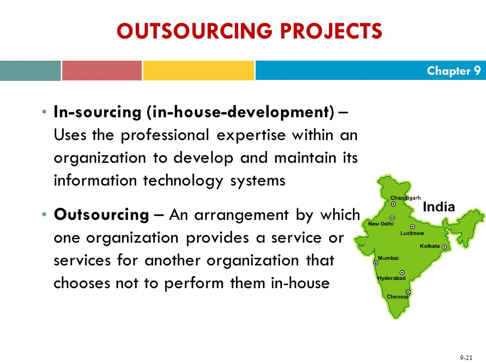 Chapter 9 9-21 OUTSOURCING PROJECTS In-sourcing (in-house-development) – Uses the professional expertise within an organization to develop and maintai