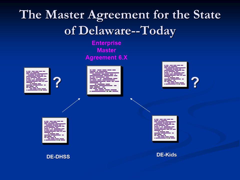 The Master Agreement for the State of Delaware--Today Enterprise Master Agreement 6.X DE-DHSS DE-Kids ??