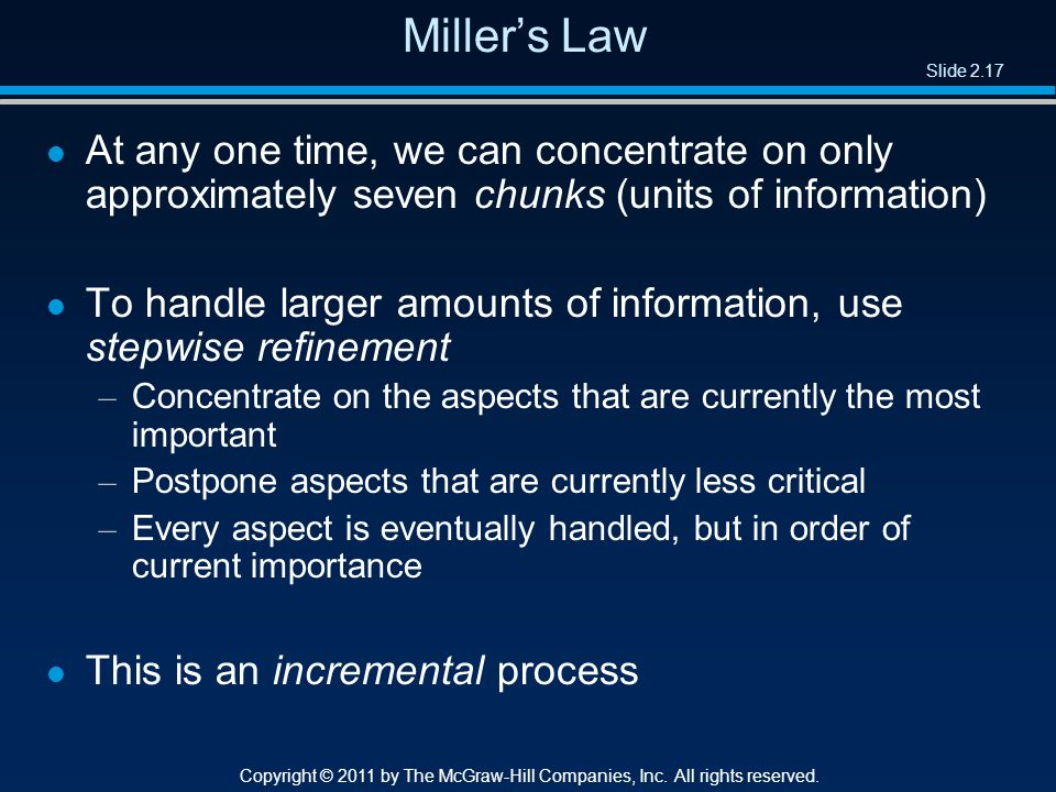 Slide 2.17 Copyright © 2011 by The McGraw-Hill Companies, Inc.