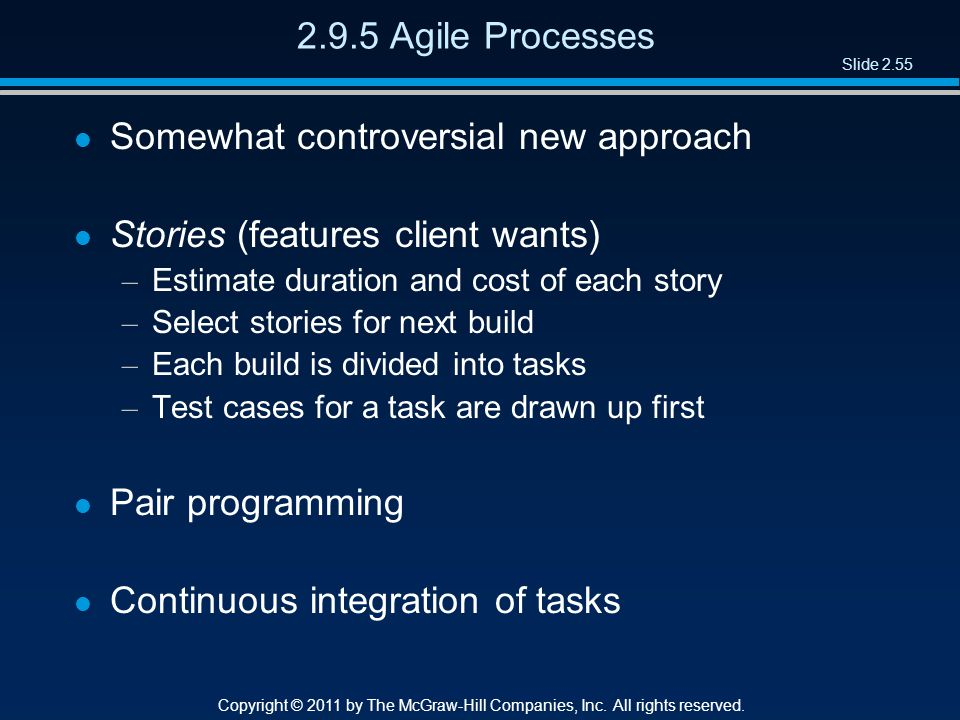 Slide 2.55 Copyright © 2011 by The McGraw-Hill Companies, Inc. All rights reserved. 2.9.5 Agile Processes l Somewhat controversial new approach l Stor