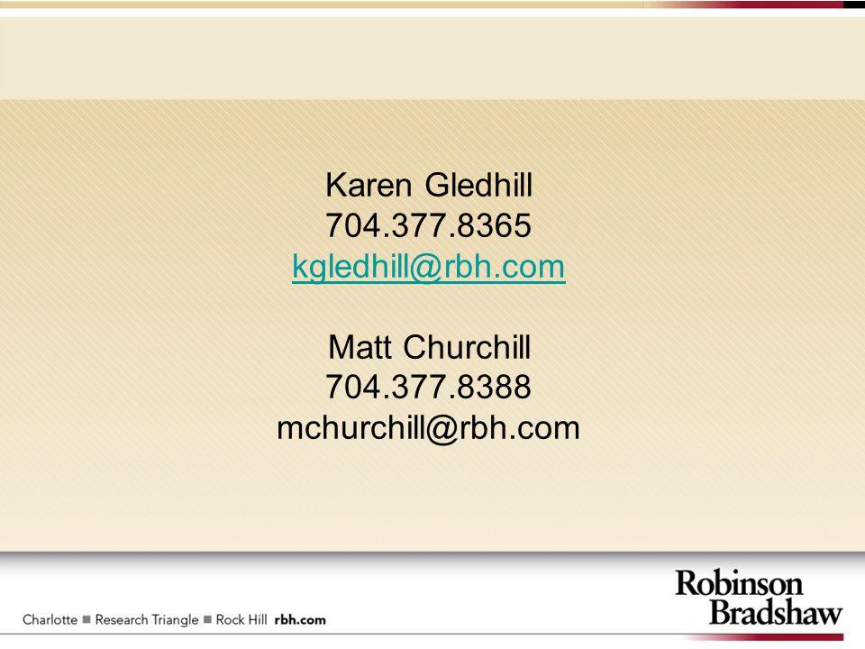 Karen Gledhill 704.377.8365 kgledhill@rbh.com Matt Churchill 704.377.8388 mchurchill@rbh.com