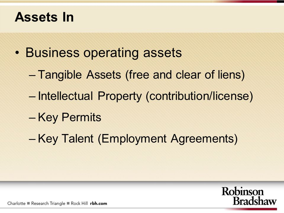Assets In Business operating assets –Tangible Assets (free and clear of liens) –Intellectual Property (contribution/license) –Key Permits –Key Talent
