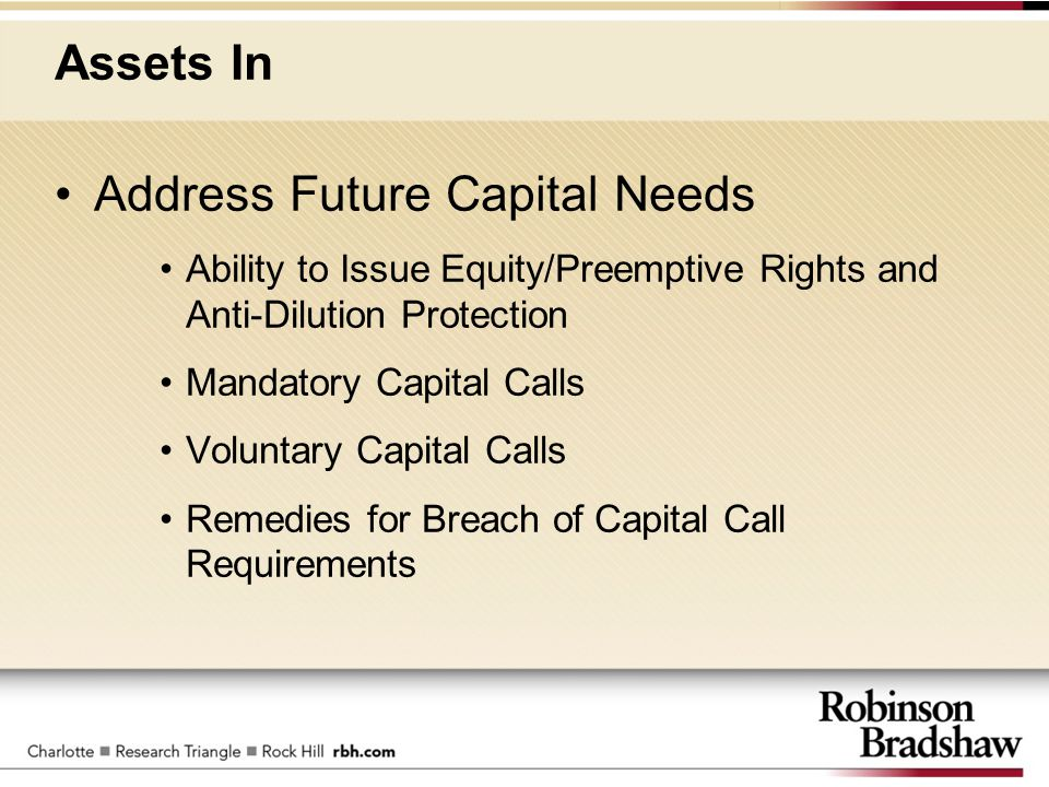 Assets In Address Future Capital Needs Ability to Issue Equity/Preemptive Rights and Anti-Dilution Protection Mandatory Capital Calls Voluntary Capita