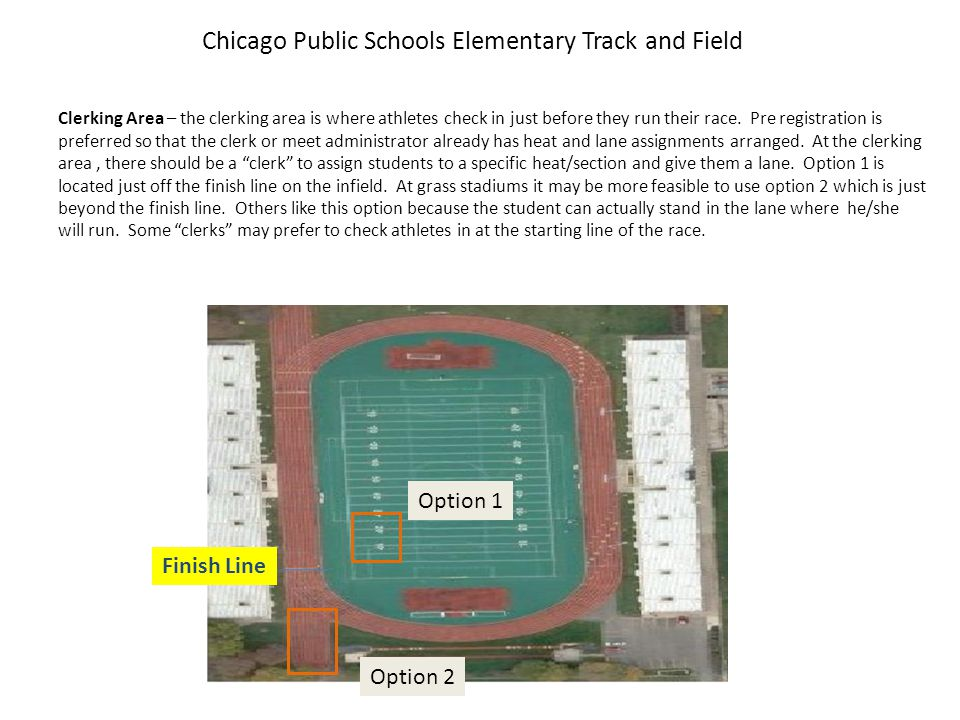 Chicago Public Schools Elementary Track and Field Long Jump – the long jump area is located at the south end of the stadium at Hanson.