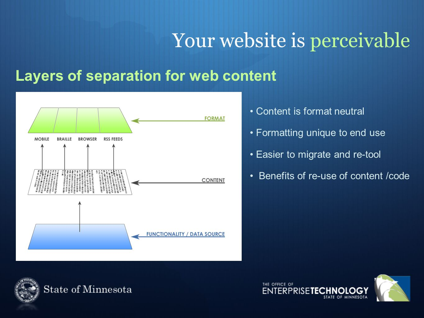 Your website is perceivable Layers of separation for web content Content is format neutral Formatting unique to end use Easier to migrate and re-tool Benefits of re-use of content /code