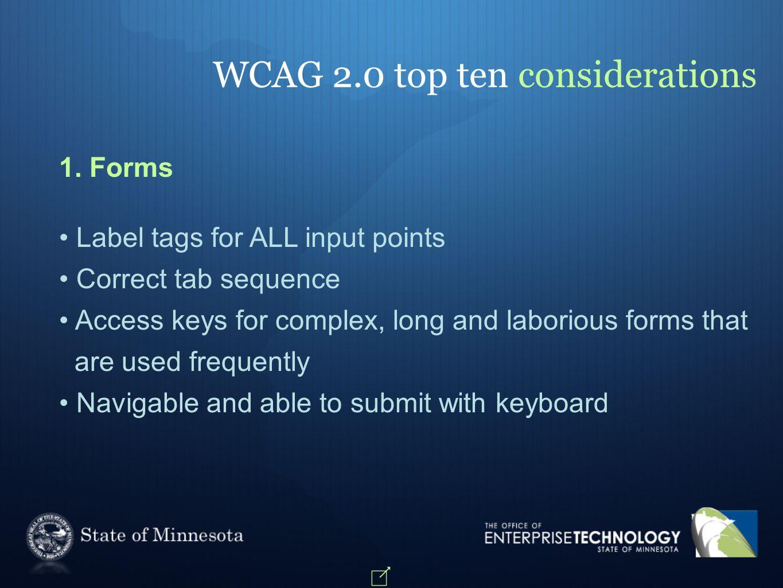 WCAG 2.0 top ten considerations 1.