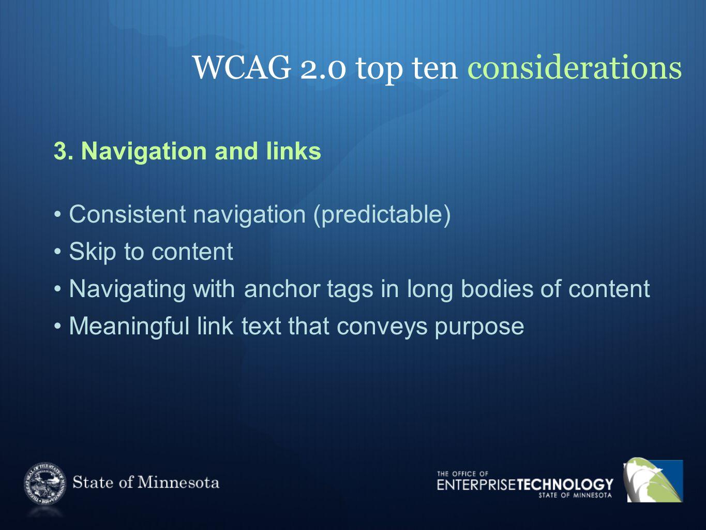 WCAG 2.0 top ten considerations 3.