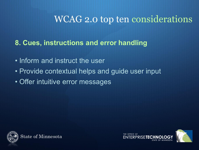 WCAG 2.0 top ten considerations 8.