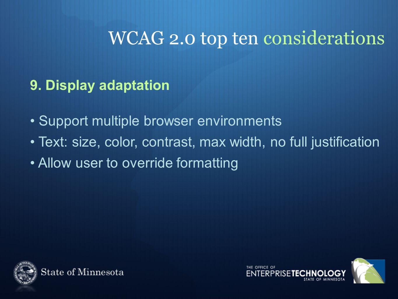 WCAG 2.0 top ten considerations 9.