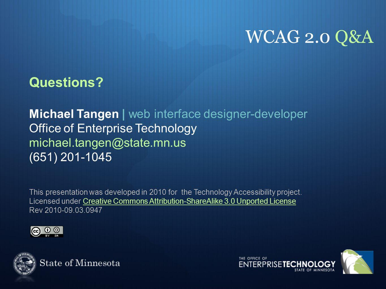 WCAG 2.0 Q&A Questions.