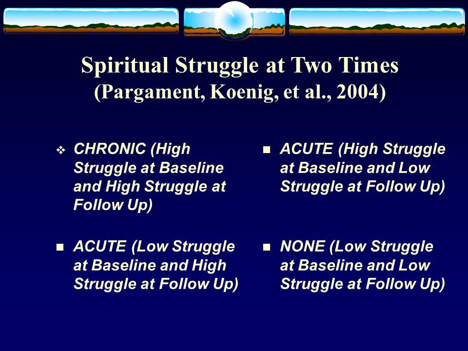 Spiritual Struggle at Two Times (Pargament, Koenig, et al., 2004)  CHRONIC (High Struggle at Baseline and High Struggle at Follow Up) n ACUTE (Low Struggle at Baseline and High Struggle at Follow Up) n ACUTE (High Struggle at Baseline and Low Struggle at Follow Up) n NONE (Low Struggle at Baseline and Low Struggle at Follow Up)