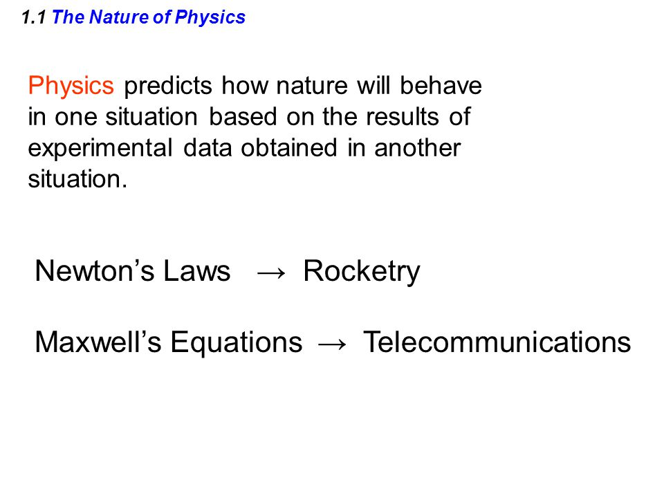 1.1 The Nature of Physics Physics predicts how nature will behave in one situation based on the results of experimental data obtained in another situation.