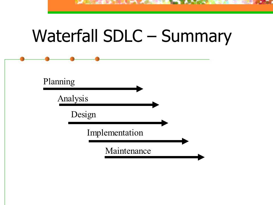 Waterfall SDLC – Summary Planning Analysis Design Implementation Maintenance