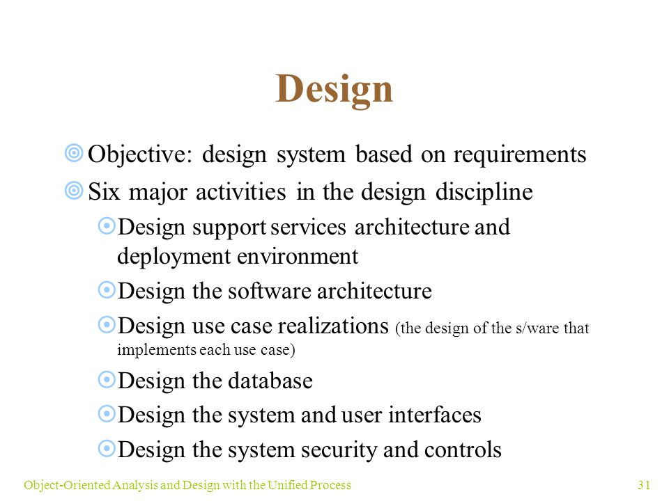 31Object-Oriented Analysis and Design with the Unified Process Design  Objective: design system based on requirements  Six major activities in the d