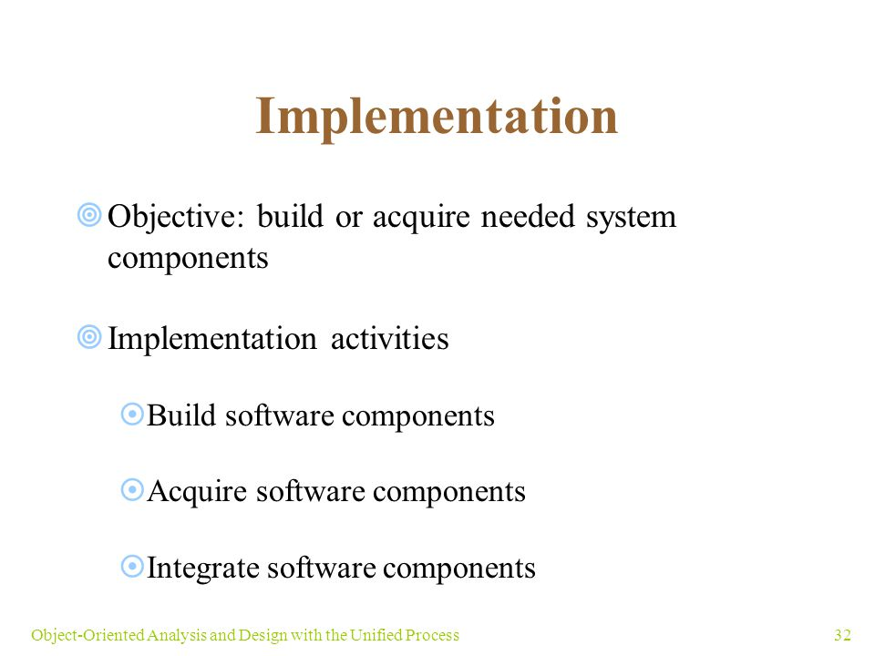 32Object-Oriented Analysis and Design with the Unified Process Implementation  Objective: build or acquire needed system components  Implementation