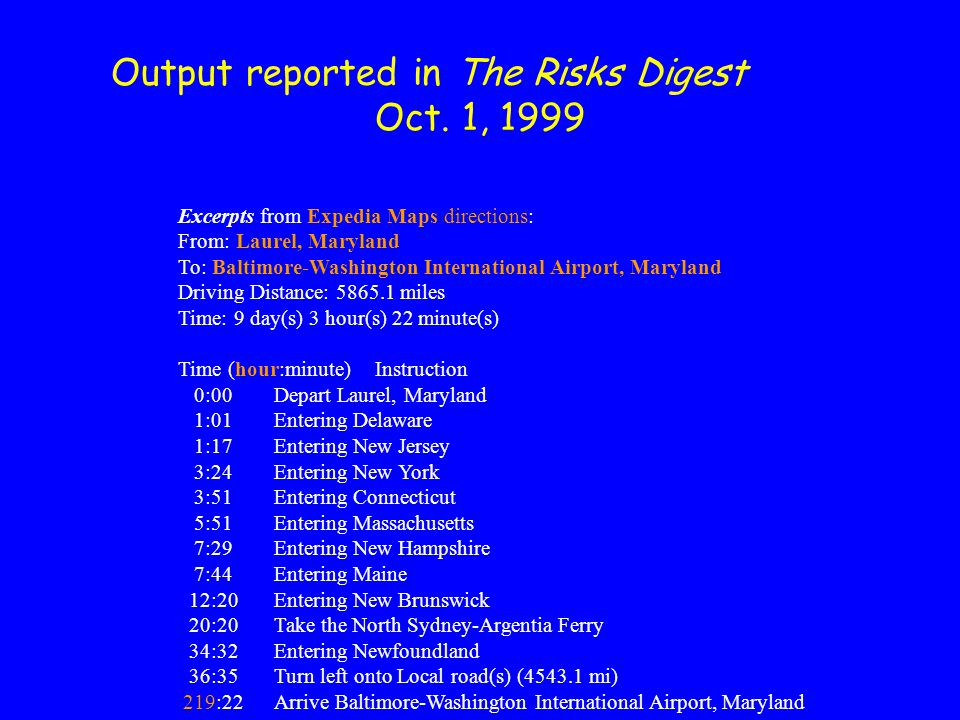 Output reported in The Risks Digest Oct.