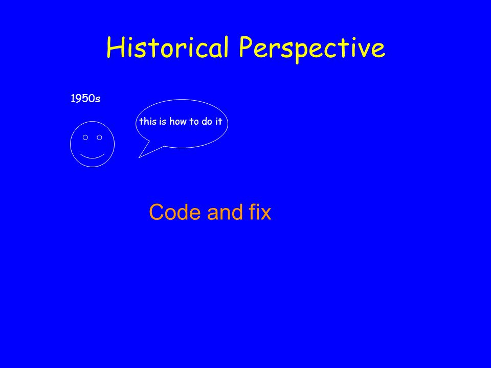 Historical Perspective 1950s this is how to do it Code and fix