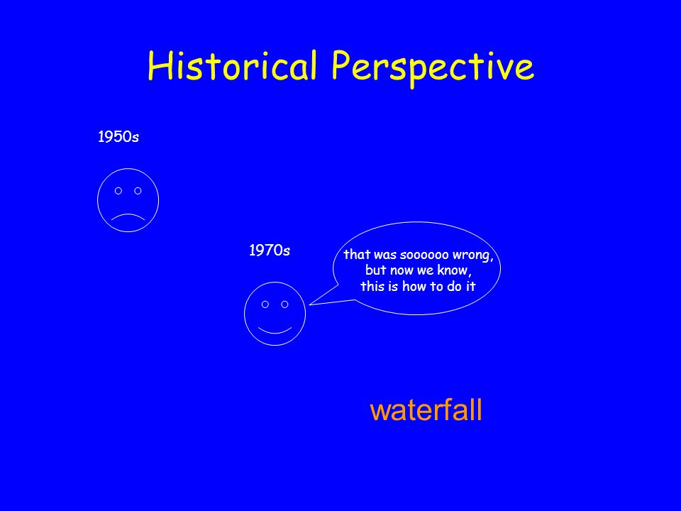 Historical Perspective 1970s that was soooooo wrong, but now we know, this is how to do it waterfall 1950s