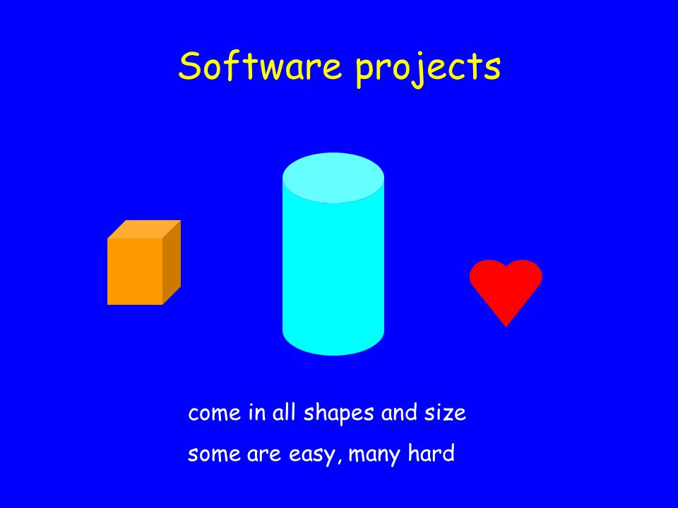 Software projects come in all shapes and size some are easy, many hard