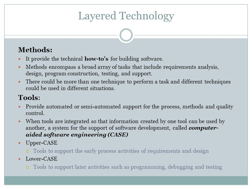 Layered Technology Methods: It provide the technical how-to's for building software. Methods encompass a broad array of tasks that include requirement