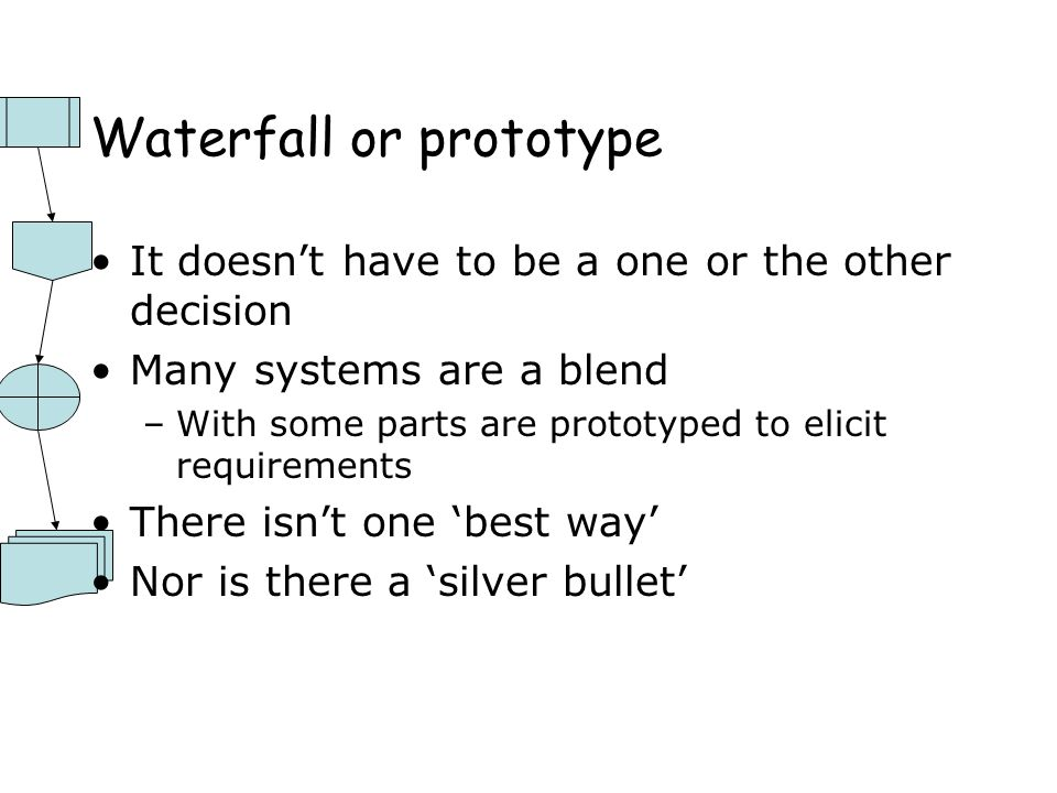 Waterfall or prototype It doesn't have to be a one or the other decision Many systems are a blend –With some parts are prototyped to elicit requirements There isn't one 'best way' Nor is there a 'silver bullet'