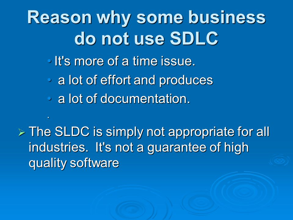 Reason why some business do not use SDLC It s more of a time issue.It s more of a time issue.