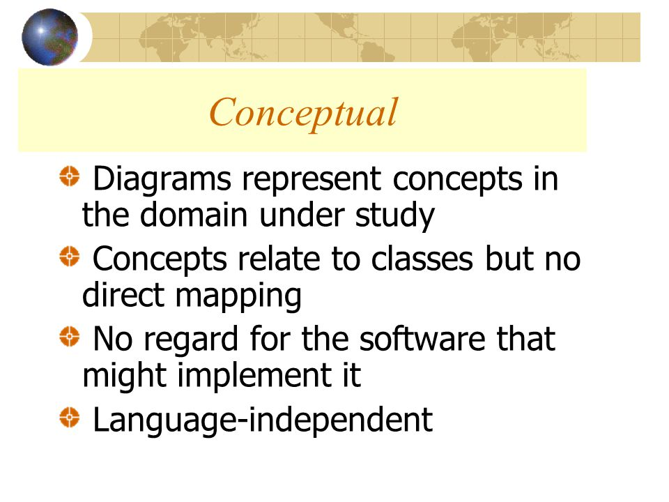 Diagrams represent concepts in the domain under study Concepts relate to classes but no direct mapping No regard for the software that might implement it Language-independent Conceptual