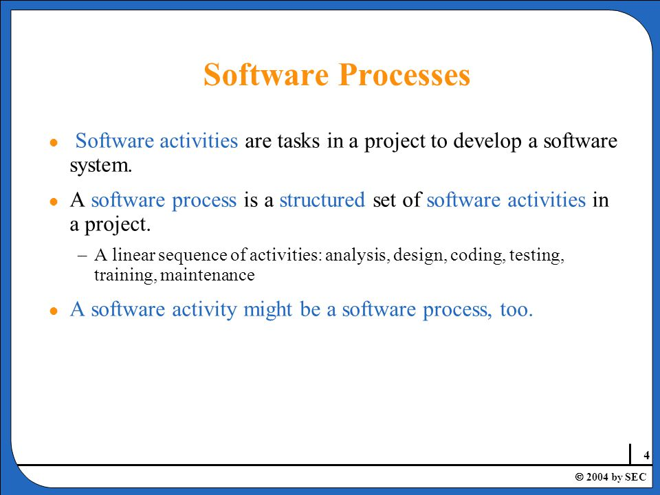 5  2004 by SEC Software Activities l Requirement acquisition l Requirement analysis l Requirement specification l System analysis l System design