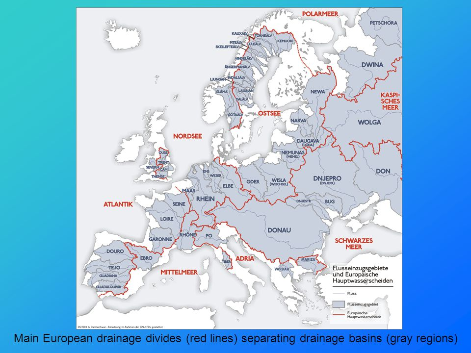 Main European drainage divides (red lines) separating drainage basins (gray regions)