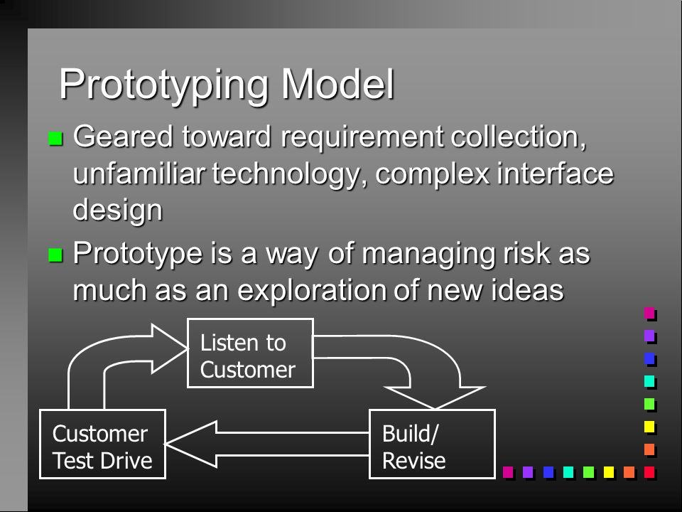 Prototyping Model n Geared toward requirement collection, unfamiliar technology, complex interface design n Prototype is a way of managing risk as muc