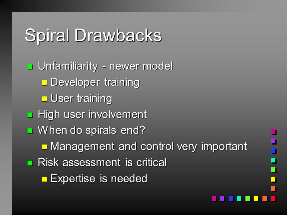 Spiral Drawbacks n Unfamiliarity - newer model n Developer training n User training n High user involvement n When do spirals end? n Management and co