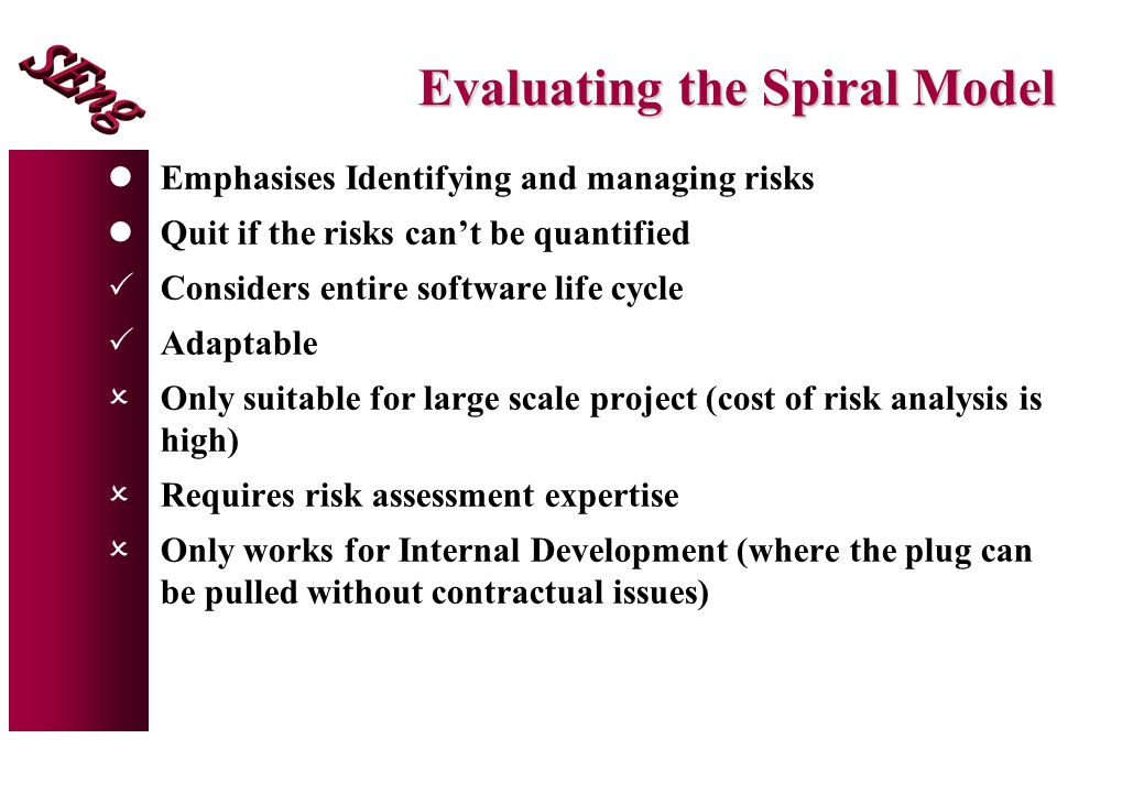 Evaluating the Spiral Model lEmphasises Identifying and managing risks lQuit if the risks can't be quantified  Considers entire software life cycle 