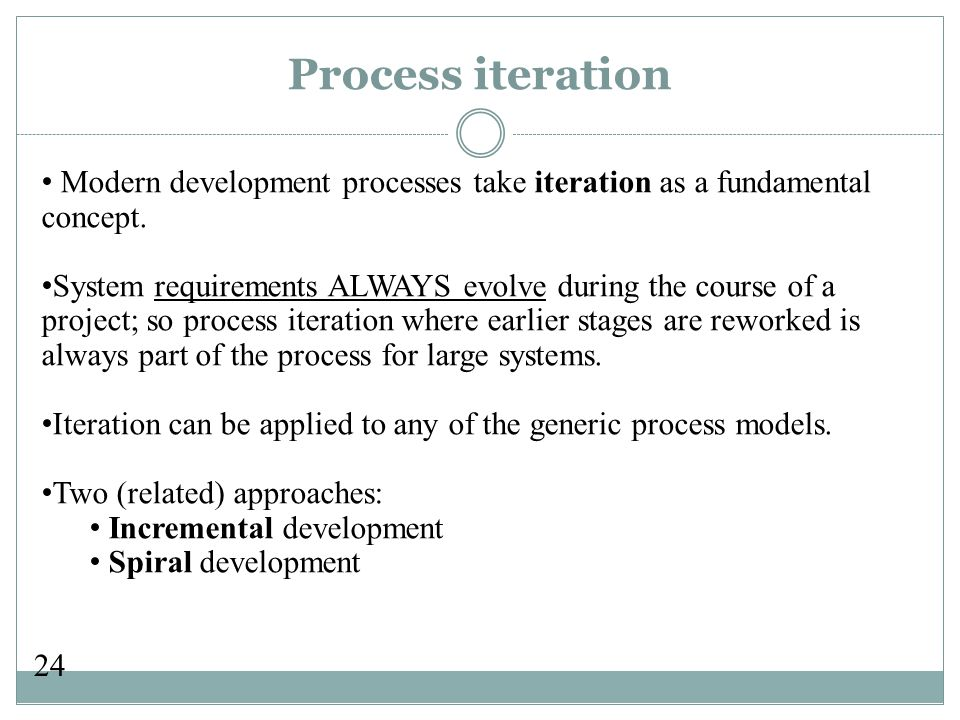 24 Process iteration Modern development processes take iteration as a fundamental concept.