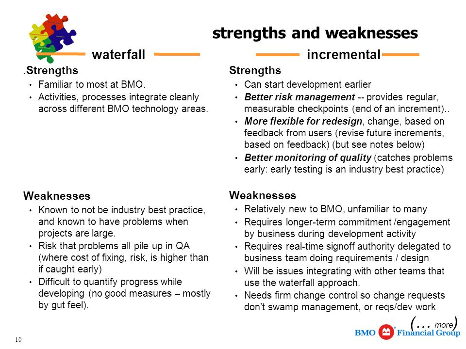 10 strengths and weaknesses incremental Strengths Can start development earlier Better risk management -- provides regular, measurable checkpoints (end of an increment)..