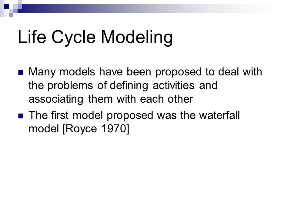 Many models have been proposed to deal with the problems of defining activities and associating them with each other The first model proposed was the