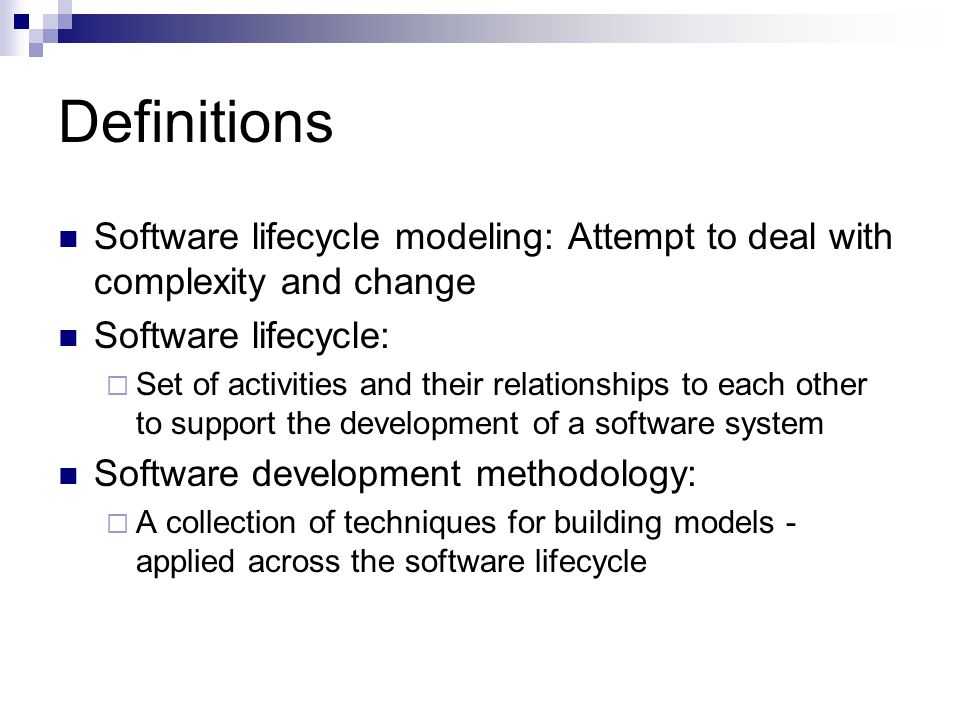 Many models have been proposed to deal with the problems of defining activities and associating them with each other The waterfall model  First described by Royce in 1970 There seem to be at least as many versions as there are authorities - perhaps more Life-Cycle Model: Variations on a Theme