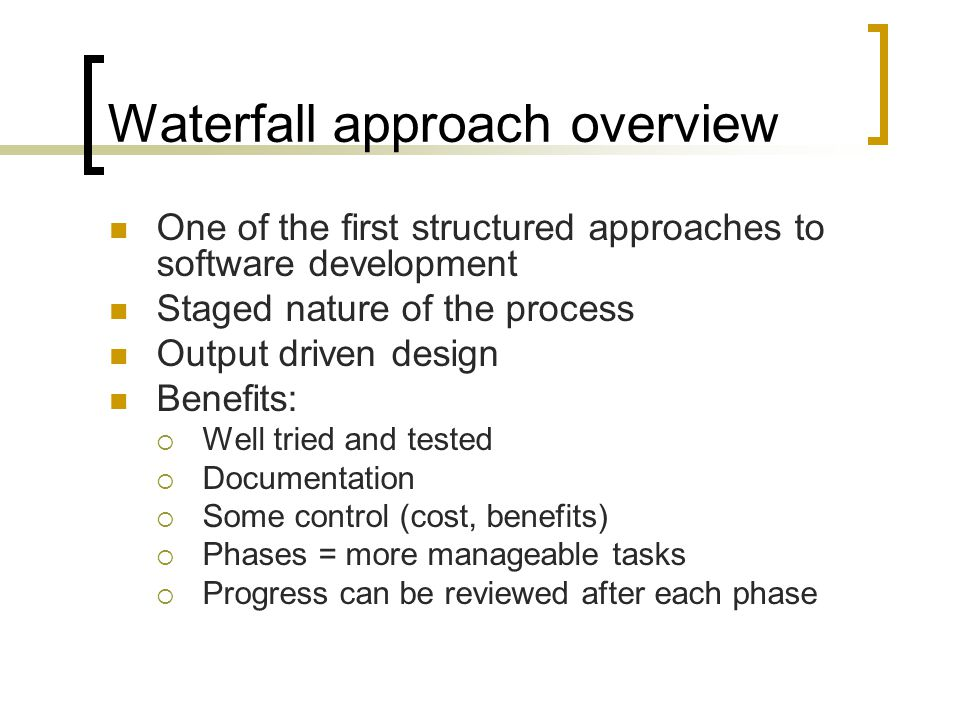 Presentation Plan Waterfall approach overview Agile approach overview Adopting Agile - Main concerns Adopting agile - Why Implementing Agile - Case studies Adopting Agile methods - How Summary Questions