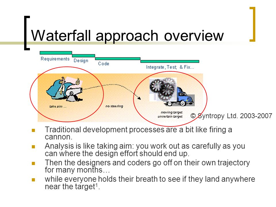 Waterfall approach overview Some shortfalls:  Management needs are neglected  Inflexible to changes in business processes  Inflexible to changes in requirements  User dissatisfaction  Problems with estimated resources (time, people, etc)  Exceptional conditions are ignored = incomplete systems  Application backlog  Systems difficult to maintain  Assumes ideal approach to everything  Assumes start afresh